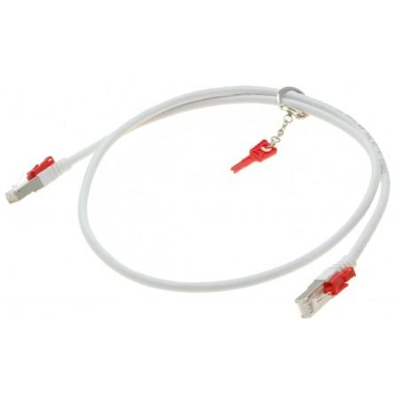 Cat. 6/6a 10G sikkerheds netværkskabel med nøgle. RJ45, STP, AWG28, hvid, 1,0m