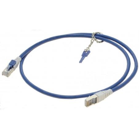 Cat. 6/6a 10G sikkerheds netværkskabel med nøgle. RJ45, STP, AWG28, blå, 1,0m