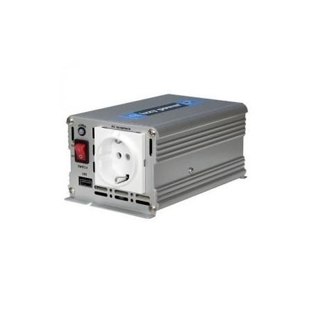 Inverter, omformer, adapter fra 12VDC til 230 VAC med sinuskurve, 350W. Brug 12V batteri til at forsyne 230V AC enheder
