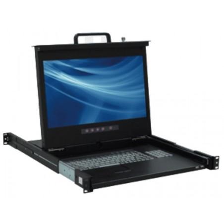 """Dansk 19"""" 1U LCD konsol med 17"""" TFT Full HD skærm, DK tastatur og mus, sort"""