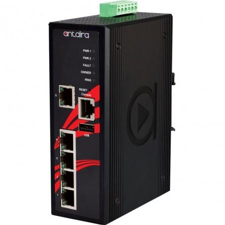 5 ports Industriel 10/100Mbit managed switch. DIN-beslag. 12 - 48VDC