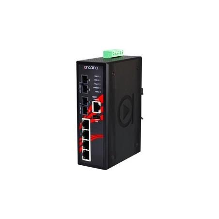 4 ports Industriel 10/100Mbit + 2 ports 100Mbit SC, Single Mode, managed switch. DIN-beslag. -10 - +70°C, 12 - 48VDC
