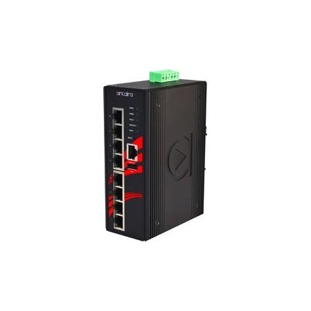 8 ports Industriel 10/100Mbit, managed switch. DIN-beslag. -10 - +70°C, 12 - 48VDC
