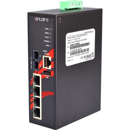 4 ports Industriel 10/100Mbit + 1 x 100Mbit SC Multi Mode managed PoE switch. DIN-beslag. -10 - +70°C, 12 - 24VDC