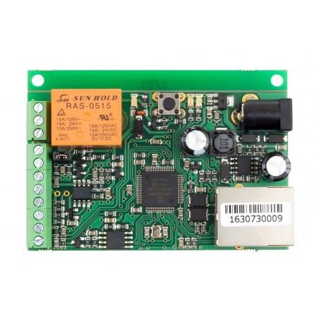 Board til fjernkontrol og måling, IP watchdog til genstart, 1 x DI, 1 x AI, 1 x Relæ, 1 x 1-Wire føler indgang