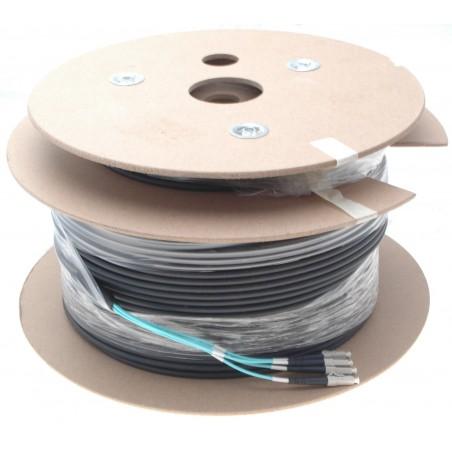 Armeret fiberkabel Multi Mode, 50/125μm, 4 x LC stik. Sort, 150 m