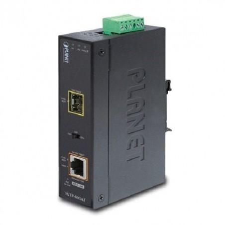Mediekonverter RJ45 10/100/1000Mbit til Fiber, SFP Gbit, PoE+ til DIN skinne montering