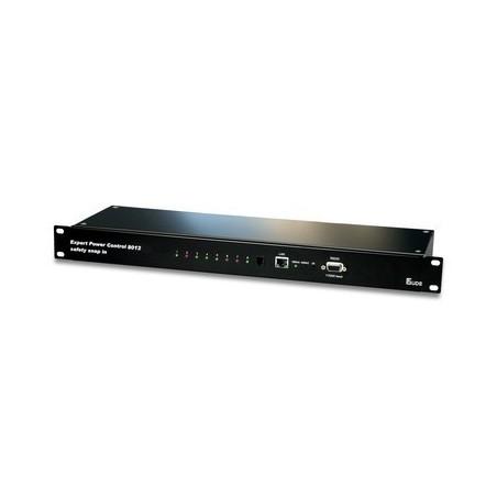 Tænd og sluk udstyr via netværk, 8 x IEC C13 udgange, op til 10A, RJ45, 1 indgang til måling af temp. med IEC lås