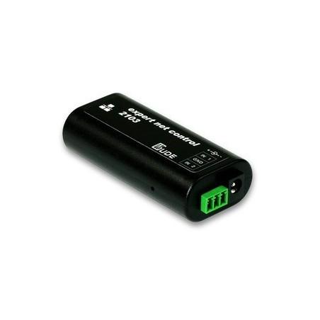 ETH, fjernstyring over netværk, 1 x DC strømforsyning, 2 x passive inputs, 1 x RJ45