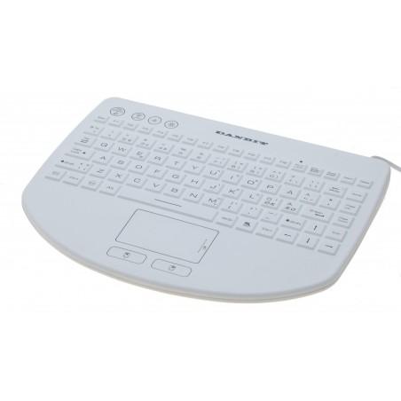 Hvidt IP68-tæt Minitastatur med touchpad og nordiske tegn