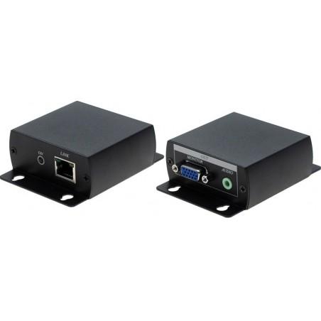 VGA extender med lyd op til 70 meter via nettverkskabel. Opløsning op til 1920 x 1200 punkter