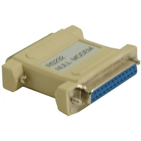 DB25 nullmodemadapter med DB25 han- og hunstik