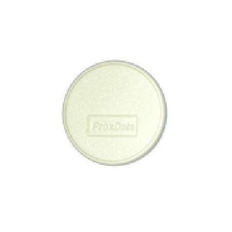 RFID tag udformet som klæbebrik i hvid, rund