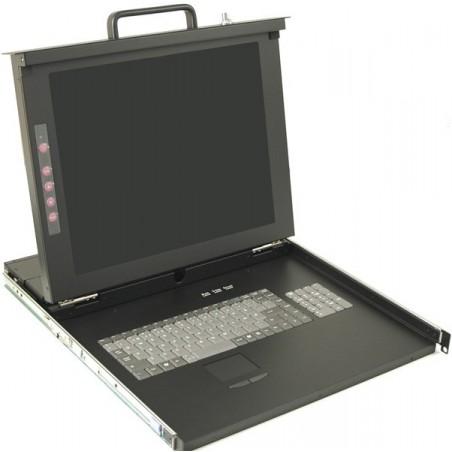 """19"""" 1U konsol med 17"""" skærm, tastatur og mus"""