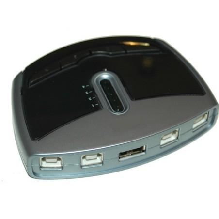 Manuel/software styret USB 2.0 omskifter fra 4 PC'er til 1 USB enhed
