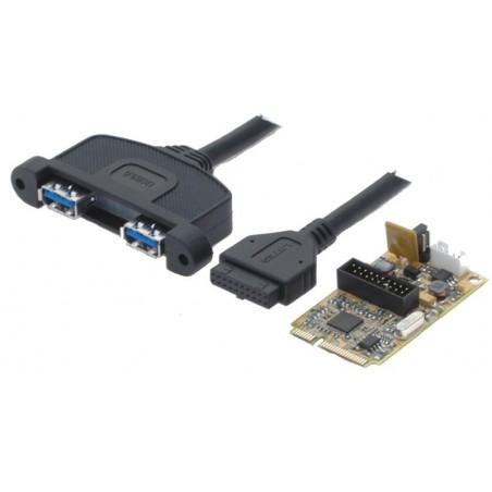 Mini PCIE kort med 2 USB 3.0 porte for tilslutning af 2 eksterne USB 3.0 enheder