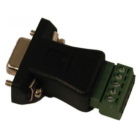 Terminalblok med DB9 stik. Adapter med 5 skrueterminaler