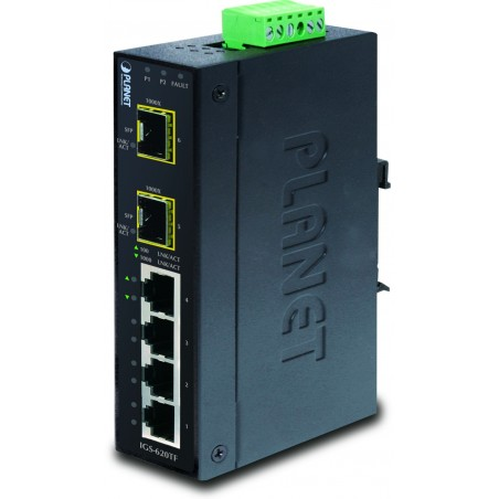6 ports Gbit switch 4 x RJ45 + 2 x SFP, DIN - Unmanaged, 12-48VDC