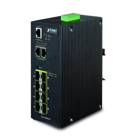 10 ports Gigabit switch 2 x RJ45 + 8 x SFP 100/1000Mbit, DIN - Managed, 12-48VDC, 24VAC