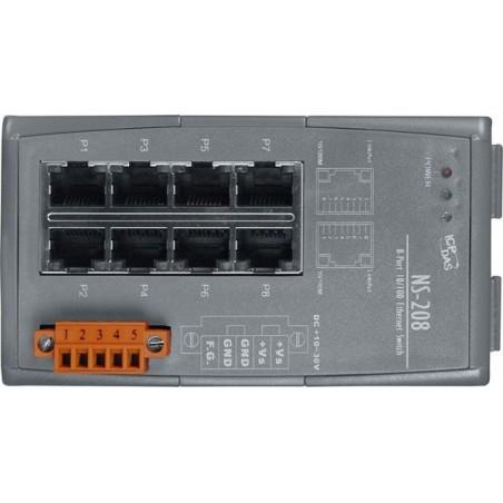 8 ports switch 10/100 RJ45 DIN - Unmanaged, 10-30VDC