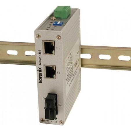 Mediekonverter RJ45 til 100Mbit Multi Mode Fiber SC, 3 x RJ45 porte