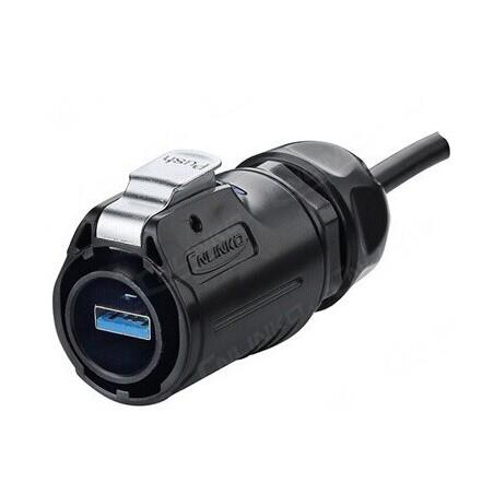 Vandtæt USB 3.0 kabel-sæt, IP68 tæt med hætte, 3 meter. Med chassis-stik, hætte og stik til kabel