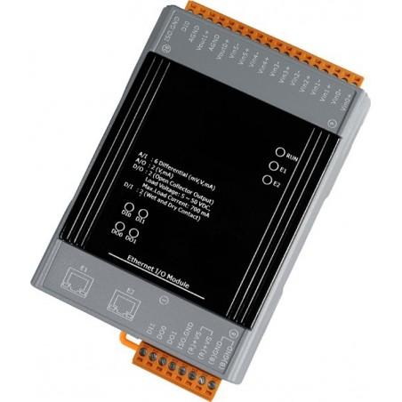 Analog 6 ind - og 2 udgange samt digitale 2 ind- og 2 udgange med 2 ports switch