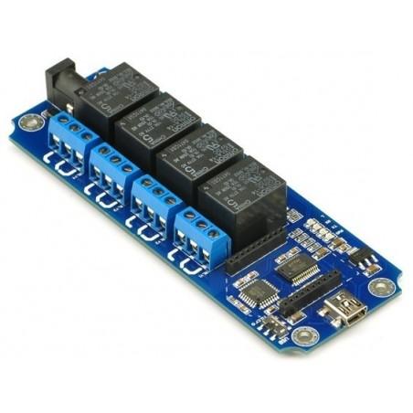 Relæ-print med 4 stk. skifte-relæer: Styres via USB eller BT/Wifi ad-on moduler