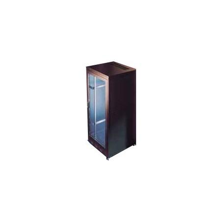 "24U 19"" rackskab, 60cm dyb, sort. Med glasdør"