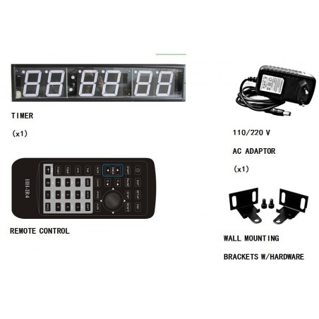 "4"" LED timer display med digitalt ur (6 cifre)"