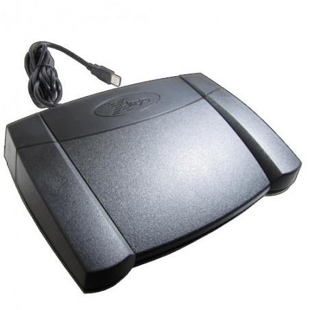 Programmerbar fodpedal til USB, med 3 kontakter. USB-HID kommandoer. Uafhængig af OS.