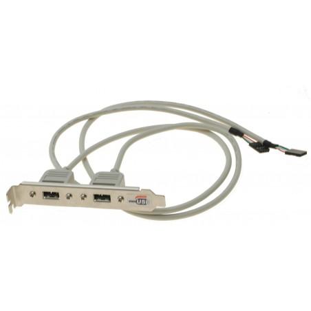 DEMOVARE: Bagplade til 2 x USB med 60 cm kabel