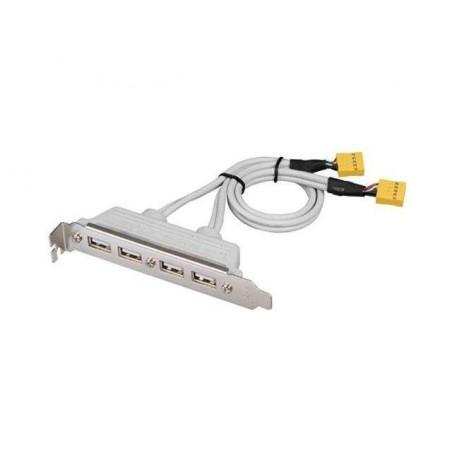 Bagplade med 4 USB på bagplade & kabel med 2 x 10-bens stik. 4 port USB bracket