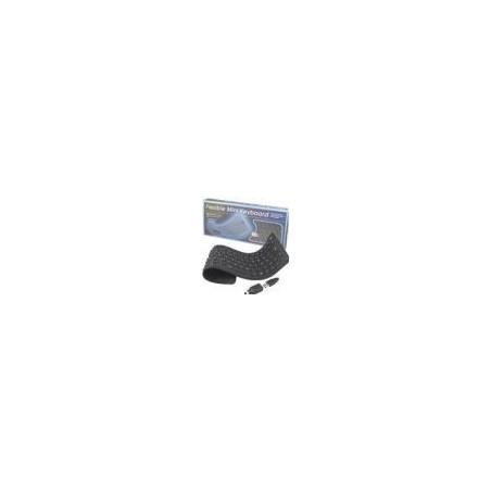 Bøjeligt IP65 tæt silikonetastatur - USB og PS/2, norsk tegnsæt, sort