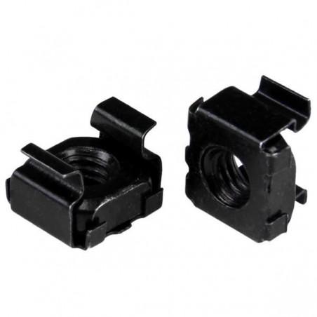 100 stk. Click-in møtrikker, sorte, til industrikabinetter og rackskabe. 6mm