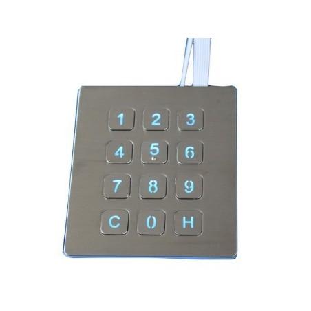 Tastatur/kontrolpanel til USB, Industri keypad m. 12 knapper i rustfri stål IP65 tæt og vandalsikret