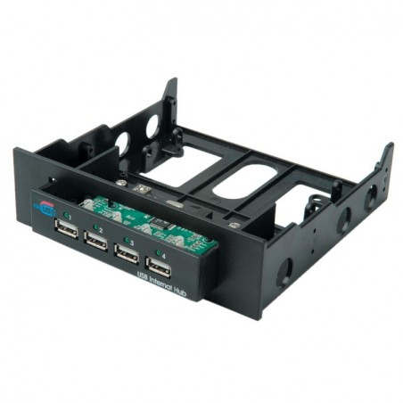 "4 port USB hub, intern i 3,5"" & 5,25"" ramme - USB 2.0"