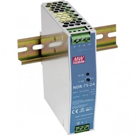 24VDC/3.2A strømforsyning, 76.8 Watt, DIN-skinne