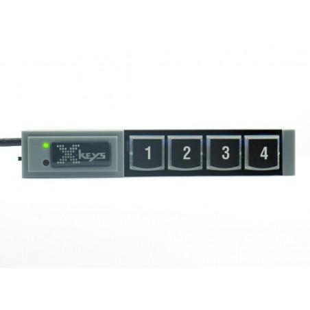 4 programmerbare taster på række, USB.