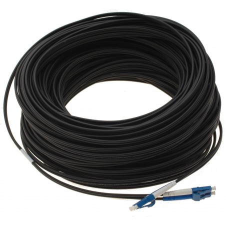 Fiberoptisk kabel med fleksibel armering af rustfrit stål - singlemode LC, 50m