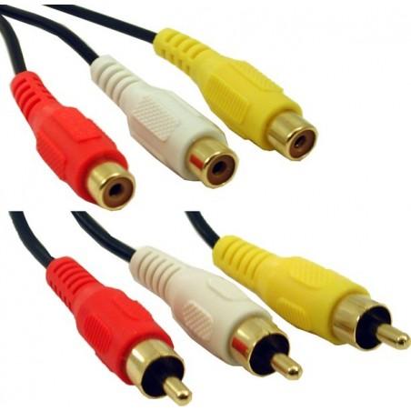 Lyd og videokabel, 3 x RCA han - 3 x RCA han, (rød-gul-hvid) 20,0 meter