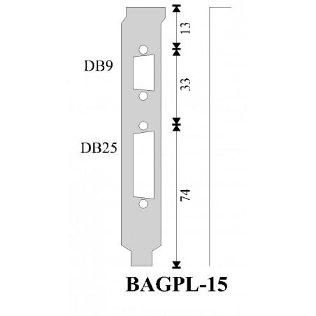 Rest salg: Bagplade med hul til DB9 og DB25