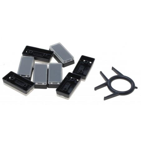 Løse aflange/ dobbelte tastaturtaster i sort med gennemsigtigt låg.