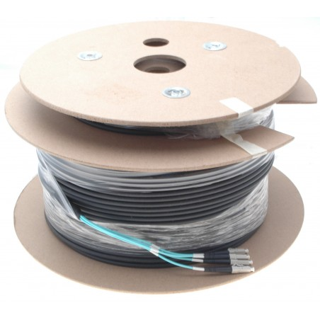 Armeret fiberkabel Multi Mode, 50/125μm, 4 x LC stik. Sort, 200 m