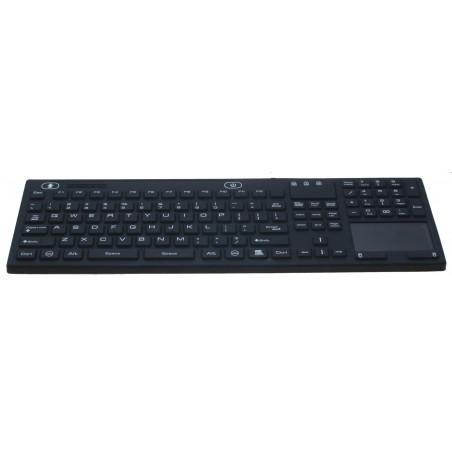 IP68 tæt medico tastatur med ON/OFF switch, touch pad, USB, US sort