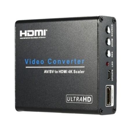 Konverter fra Composite AV RCA/ S-VHS til HDMI, HD UHD 4K
