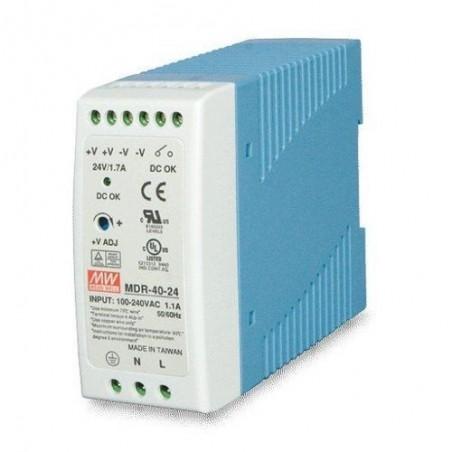 24V/1.7A strømforsyning, 100-240VAC, DIN-skinne, -20 - +70°C