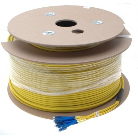 8 Core armeret fiberkabel single mode 9/125, LSZH, 8 x LC stik, gul, 200 meter