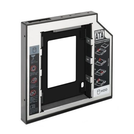 """Monteringsramme/ adapter/ drev til 2½"""" HDD eller SSD til intern SATA tilslutning, 12,7 mm tyk, Plug & Play"""
