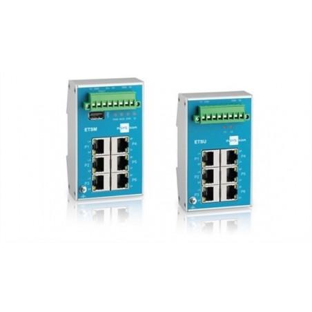 6 ports 10/100Mbit RJ45 switch, DIN, -40 til +70°C, status via MODBUS, fejl I/O, flat design, 9-60VDC, 18-30VDC, lite managed